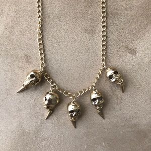Punk necklace with small skull pendants